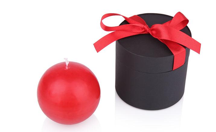 Луксозни опаковки - Тубус с панделка за свещи